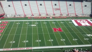 The view WyoSports senior editor Robert Gagliardi has from the press box for tonight's Wyoming-Nebraska game at Memorial Stadium in Lincoln, Neb. Photo by Robert Gagliardi