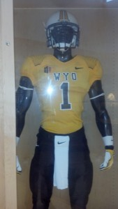 The uniform combination for Wyoming this week for its home game against Northern Colorado on Saturday, Sept. 14, 2013. Photo by Robert Gagliardi/WyoSports