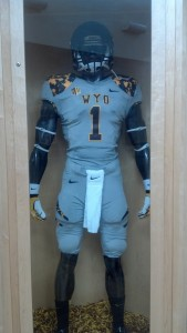 Wyoming's military appreciation uniforms it wore Sept. 21 against Air Force. UW may wear these again Saturday at Utah State. Photo by Robert Gagliardi/WyoSports