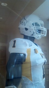 "Wyoming will go with an all white helmet and Steamboat logo for its ""white out"" game Saturday against No. 17 Fresno State. Photo by Robert Gagliardi/WyoSports"