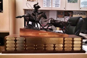 The new Paniolo Trophy awarded to the winner of the Wyoming-Hawaii football game.