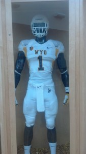 "The uniform combination for Wyoming's home game with Fresno State Saturday, which UW is promoting as a ""white out"" game. Photo by Robert Gagliardi/WyoSports"